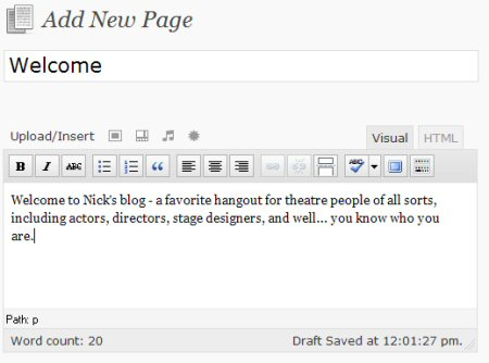 Create the page you want to use as your static home page.