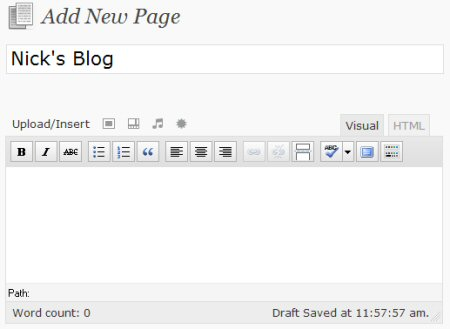 Create a blank page for your blog.