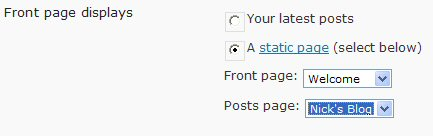 Choose the pages to use for the static home page and blog posts.