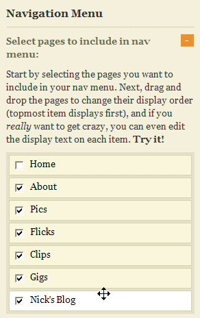thesis navigation menu order